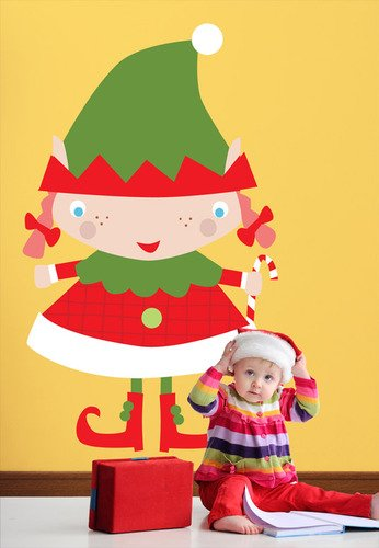 Oopsy Daisy Peel and Place Santa's Little Helper Girl by Vicky Barone, 54 by 30-Inch
