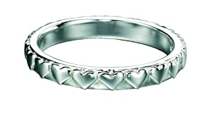 Element Sterling Silver, Ladies', R2768, Stackable Band Ring with Engraved Hearts - Size Medium