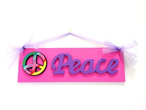 Girls Peace Sign Bedroom Wood Sign Pink Purple Peace Sign Wall Art front-433095