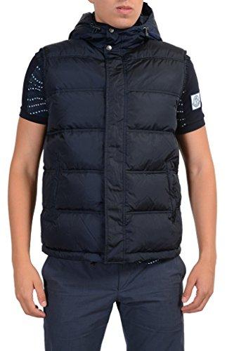 Gucci Men's Blue Full Zip Down Hooded Sleeveless Jacket Vest US L IT 52;