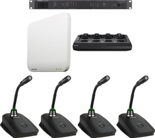"Shure Mxws4G5/C Microflex Wireless 4 Channel Conference Room System With 5"" Cardioid Gooseneck Micophone"