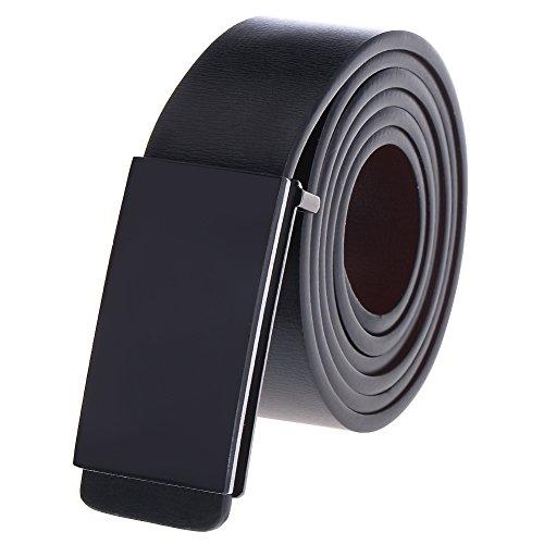 Vbiger Business Leather Belt for Men Matte Black Plaque Buckle (120cm, Black)