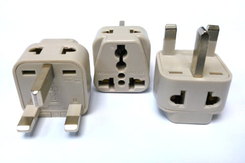 CKITZE BA-7-3P Grounded Universal 2-in-1 Type G Plug Adapter – 3 Pack