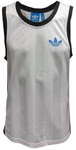 Adidas Originals Trefoil canottiera da uomo canottiere intime Mens Vest Mesh canotta senza maniche da uomo Gym Trainng Top Running Vest White, taglie S M L NEW m37007 bianco s