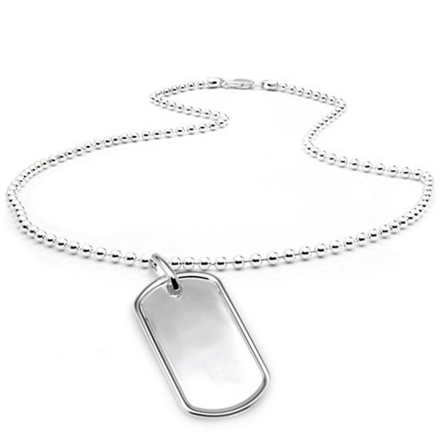Bling Jewelry Small 1.25 inch Classic Sterling Silver Dog Tag Pendant