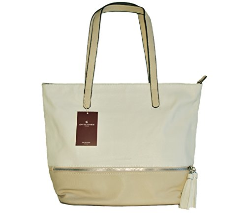 Borsa donna David Jones in ecopelle modello shopper - bianco/beige