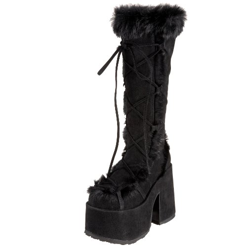 Demonia By Pleaser Women's Camel-311 Boot,Black Imitation Suede,6 M US