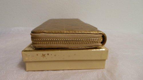 MICHAEL Michael KorsMICHAEL KORS JET SET 18K GOLD ZIP AROUND CLUTCH WALLET CONTINETAL MK SIGNATURE SAFFIANO 34H3MJSE3B