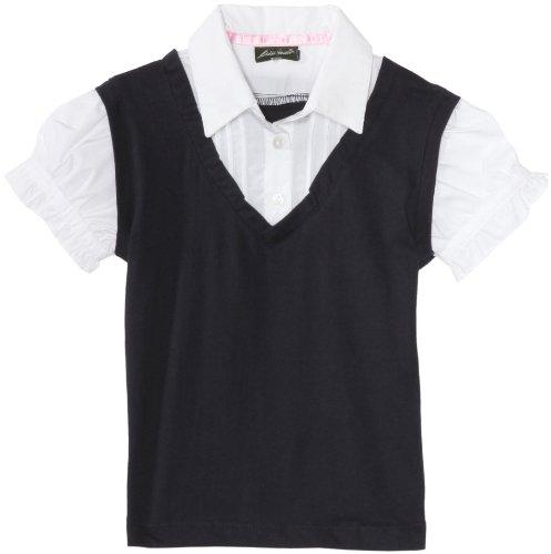 Eddie Bauer Little Girls' Uniform Short Sleeve Woven Top with Knit Vest, Navy, 6X