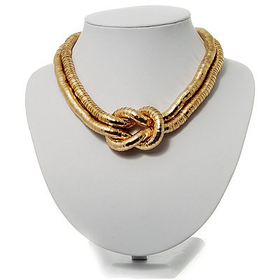2 Strand Flex Snake Choker Necklace (Gold Tone)