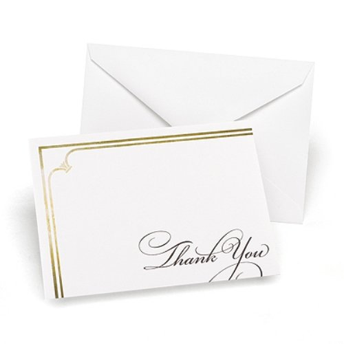 Hortense B. Hewitt 50 Count Golden Elegance Thank You Cards, Black/Gold