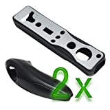 GTMax 2x Silicone Case Cover Black 2 Tone for Nintendo Wii Remote Controller and Nunchuk