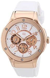 Tommy Hilfiger Ainsley Women's Quartz Watch with White Dial Analogue Display and White Rubber Strap 1781311