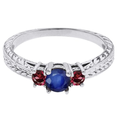 0.60 Ct Round Blue Sapphire Red Rhodolite Garnet 18K White Gold 3-Stone Ring