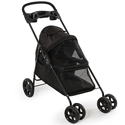 PETZONE© Four Wheel Pet Stroller, for Cat, Dog and More, Foldable Carrier Strolling Cart, Black