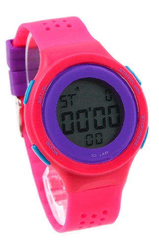 Korean Retro Girls Students Contrast Color Led Sport Watches Rose