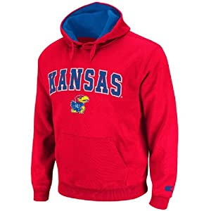 Kansas Jayhawks Mens Red Automatic Pullover Hoodie by Colosseum