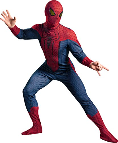 Morris Costumes Men's SPIDER-MAN MOVIE DELUXE ADULT, Red/Blue/Black, 42-46