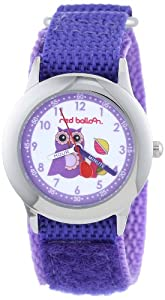 Red Balloon Kids' W000333 Red Balloon Love Owl Kid's Stainless Steel Time Teacher Purple Velcro Strap Watch