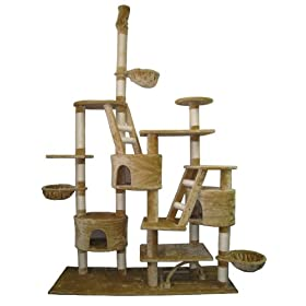 GoPetClub Huge Cat Tree Furniture Cando Bed House Pet Scratcher Post