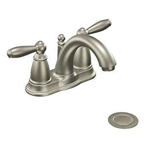 Moen 6610BN Brantford Two-Handle Low Arc Bathroom Faucet with Drain Assembly, Brushed Nickel