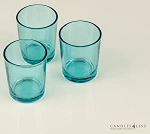 72 Pieces Turquoise Glass Votive Candle Holders (Bulk), Turquoise