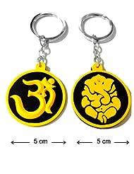 Keychain Om Ganesh Ganpati Yellow Black Synthetic Rubber Metal Keyring