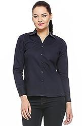 Fasnoya Formal Navy Blue Shirt for Women