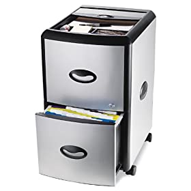 Storex Metal and Plastic Wheeled Filing Cabinet with Roll-Away Cover, Black/Silver (61352U01C)