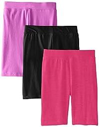 Dream Star Big Girls\' Bike Shorts 3-Pack, Neon Punch/Black/Neon Pink, Small