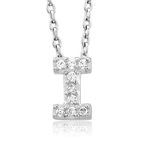 Sterling Silver Finish Cubic Zirconia Initial 'I' Necklace