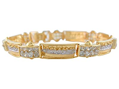14k Two-Tone Gold Stunning White CZ Pave Links Last Supper Religious Bracelet