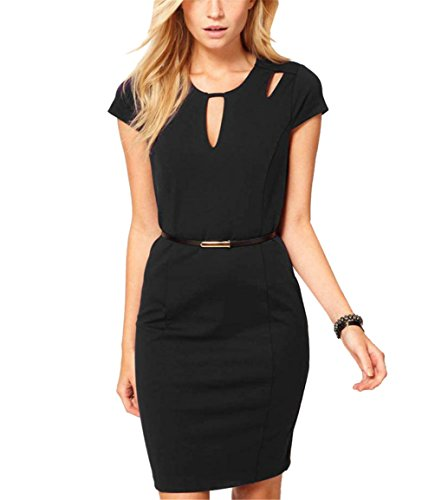 Little Love Women's V-Neck Fashion Solid Color OL Professional Party Bodycon Dress L Black