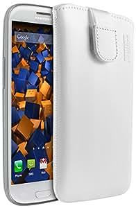 mumbi ECHT Ledertasche für Samsung Galaxy S3 i9300 / S3 Neo Tasche (Lasche mit Rückzugfunktion) weiss
