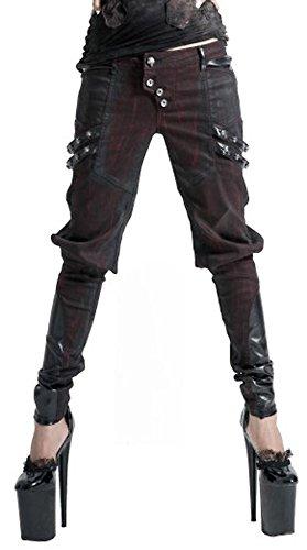 Pantaloni, colore: rosso e nero con teschi e cinghie K-150 Punk Rave nero XL