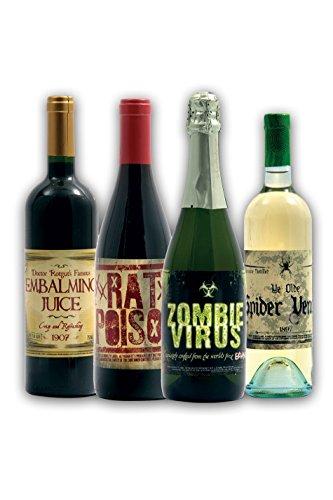 [Halloween Wine Bottle Stickers (16 count)] (Wine Inspired Halloween Costumes)