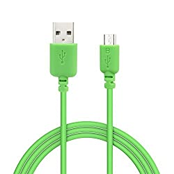 EZOPower Extra Long 6ft Green Micro-USB 2in1 Sync and Charge USB Data Cable for BLU Advance 4.0; Samsung, HTC, LG and Other Smartphone