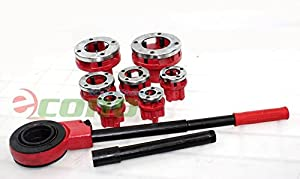 7 Size Pipe Threader Threading 3/8 to 2 Die Dies Set w/ Handle Ratchet