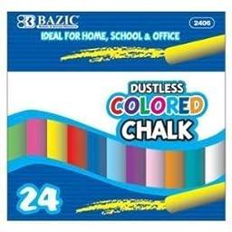 3 Pk, BAZIC Dustless Assorted Colored Chalk, 24 Per Box