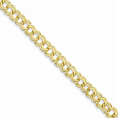 14k Yellow Gold 7in 6.5mm Solid Double Link Charm Bracelet 7