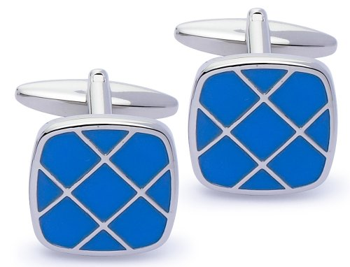 Code Red Base Metal Rhodium Plated with Blue Enamel Cufflinks
