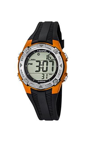 Calypso-Orologio digitale Unisex, con Display LCD digitale e cinturino in plastica, colore: nero, 7 K5685