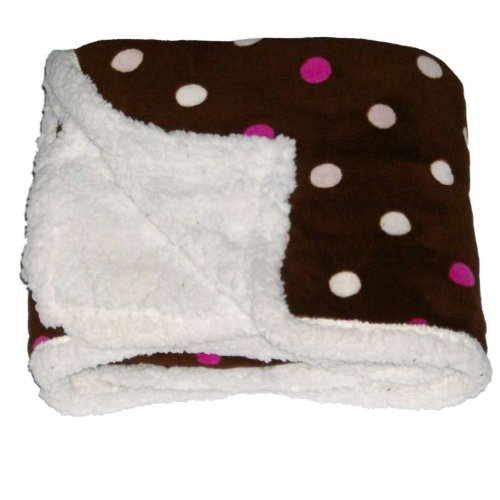 Northpoint Pearlie Micro Sherpa Fleece Micromink Throw Blanket Pink Dots front-890757