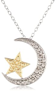 18k Gold Plated and Sterling Silver Diamond-Accented Moon and Star Pendant Necklace 18