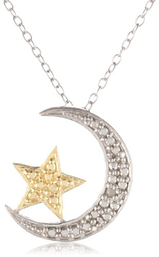 """Goldtone Finish and Sterling Silver Diamond-Accented Moon and Star Pendant Necklace 18"""""""