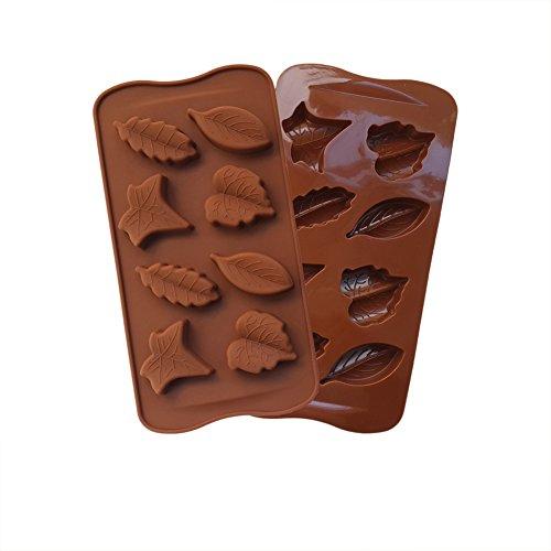 eleery Noël en silicone en forme de feuille Muffin/gâteau/cookie/chocolat/bonbons/à Cube Moule Bac à Glaçons Moule Cupcake, Silicone, marron, 21.5CM X 10.2CM X 1.3CM/8.46''X4.01''X0.51''