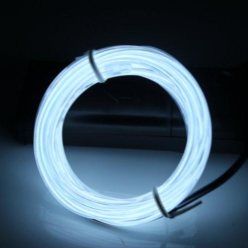Lerway 5M Colorful Flessibile EL Elettroluminescente LED Luci Leggero illuminazione + Auto Accendisigari, per Casa Cucina Decorazione, Ristorante, Bar Club Partito Festa - bianco