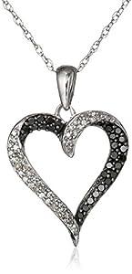 "10k White Gold Black and White Diamond Heart Pendant Necklace (1/3 cttw), 18"""