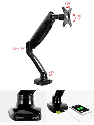 Click to buy Single LCD/LED Monitor Desk Mount Stand With 2 USB hub; 360 degrees at any position; Support monitor: 10''-27''; Support weight: 1.5-5 KG; VESA Hole Pattern: 100x100MM or 75x75MM - From only $70.99