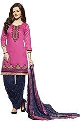 Leranath Fashion House Womens Pure Chanderi Material Pink, Blue Dress (LE11-277SUN-2)